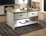 GFW - <span class='highlight'>The</span> <span class='highlight'>Furniture</span> Warehouse Lancaster Grey & Oak Coloured Occasional Range - Tables Sideboard Tv Cabinets#Coffee Table Cream