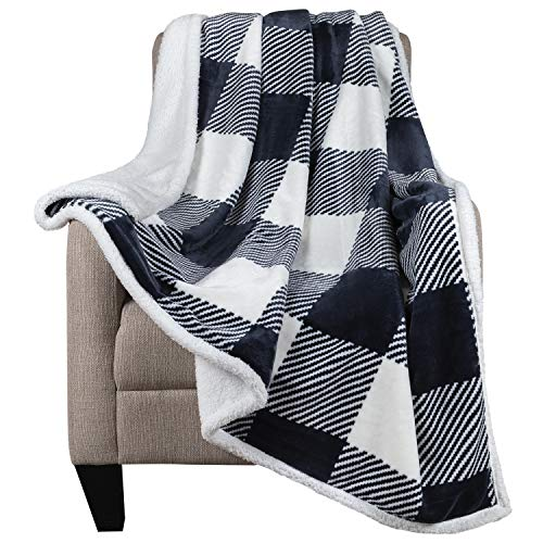 Malinad Plaid Throw Blanket - 50x60 Black & White - Printed Buffalo Flannel Fleece & Sherpa – Soft, Cozy, Warm - Perfect for Bed, Sofa, Couch