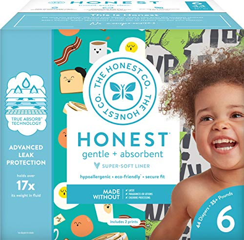 The Honest Company Club Box - Size 6 - T-Rex & Breakfast Print with TrueAbsorb Technology | Plant-Derived Materials | Hypoallergenic | 44 Count