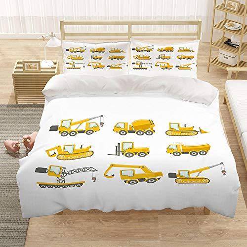 Bettwäsche-Set Bettbezug Autowerkzeuge 135x200 cm Mikrofaser Bettbezug mit Reißverschluss kuschelig atmungsaktiv faltenfrei hypoallergen mit 2 Kissenbezug