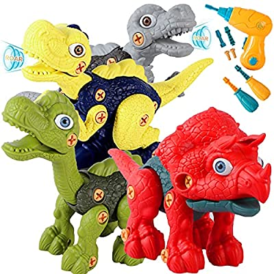 SZJJX Take Apart Dinosaur Toys for Kids 3-5, Dinosaurs Construction Building Toy Set with Electric Drill, STEM Kids Toys for 3 4 5 6 7 Year Old Boys Girls Birthday Easter Gifts from SZJJX