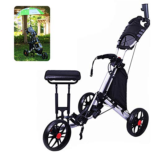 Wheel Golf Push Cart , 3-Rad Golf Trolley Push Pull Golf Cart, Faltbarer, zusammenklappbarer, Leichter Pushcart...