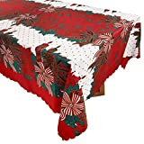 FLOFIA Mantel de Navidad Rectangular de Tela Rojo 150*180cm, Cubierta de Mesa Navidad para Fiesta Mesa Navidad Escaparate Decoración