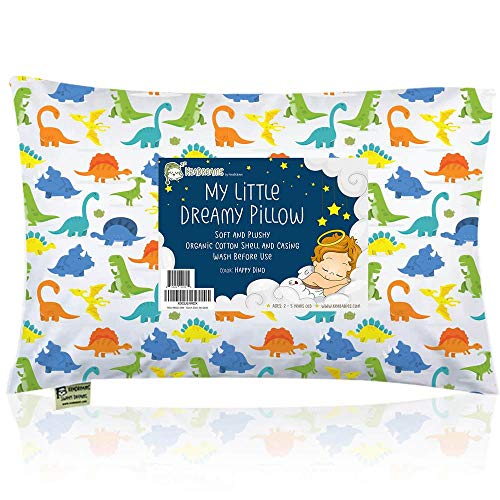 Toddler Pillow with Pillowcase - 13X18 Soft Organic Cotton Baby Pillows for Sleeping - Machine Washable - Toddlers, Kids, Boy, Girl - Perfect for Travel, Toddler Cot, Bed Set (Happy Dino)