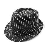 Sombrero De Paja Al Aire Libre, Sombrero De Rayas, Sombrero De Jazz Británico 56-58CM Negro