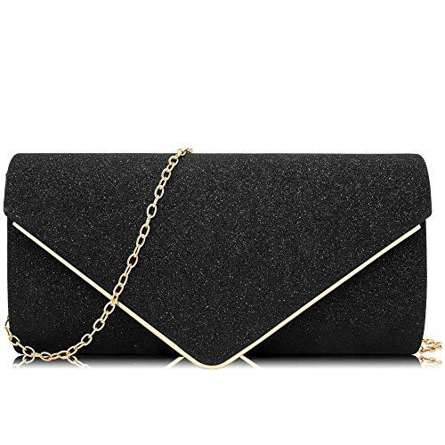 Milisente Women Clutches Glitter Sequins Evening Bag Elegant Envelope Shoulder Bag (Black)