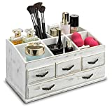 MyGift 7-Compartment Shabby Whitewashed Solid Wood Jewelry/Cosmetics Vanity Organizer Rack with 4 Vintage Storage Drawers