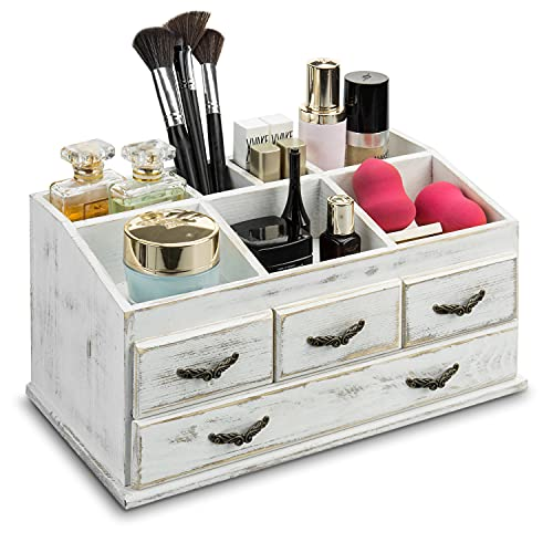 MyGift 7-Compartment Shabby Whitewashed Solid Wood...