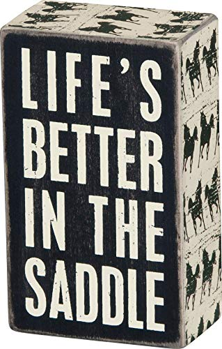Primitives by Kathy Horse-Print Trimmed Box Sign, 3 x 5-Inches, Life's Better in The Saddle