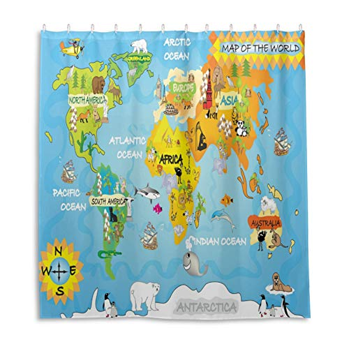Kinder-Duschvorhang mit Weltkarte in Landkarten, Stoff, Badezimmer-Dekor-Set mit Haken, 183 cm lang