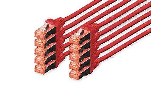 DIGITUS - 10 Stück - Patch-Kabel Cat-6 - 1m - S-FTP Schirmung - Kupfer-Adern - LSZH Mantel - Netzwerk-Kabel - Rot