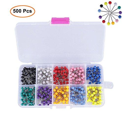 500/1000 PCS Kaart Tacks Push Pins, MyCreator Kaart Pushpins wih Plastic Hoofd met Stalen Punt voor Kurk Board, Werkruimte en Kaart Locatie, 1/8 Inch in Klein formaat 500PCS-4mm Als afbeelding