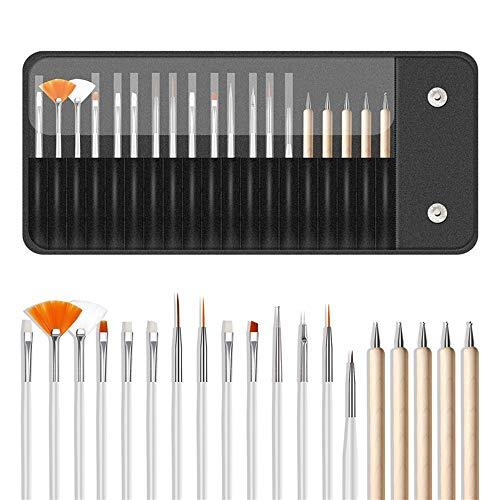 Anself 20PCS Kit de Pinceaux Nail Art -15pcs Stylo Pinceau de Peinture à Ongles + 5pcs Stylos Dotting - Ensemble de Trousse à Outils pour Stylo à Ongles et Brosse à Pinceaux en Bois avec Sac