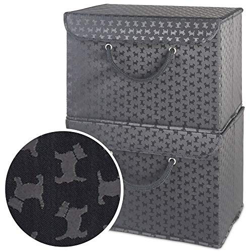 Kleine zwarte hond opbergdoos met deksel- Extra breed handvat- Sterke, veilige bevestiging- Geschikt voor kleding, accessoires, papierwerk, tijdschriften, aandenken, hondenspeelgoed/traktaties. Geweldig cadeau voor liefhebbers van huisdieren