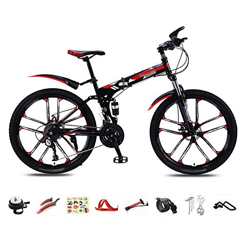 30-Speed Folding Mountain Bike, 26-inch Lightweight Commuter Bike, MTB Dual disc Brake Full Suspension Bike
