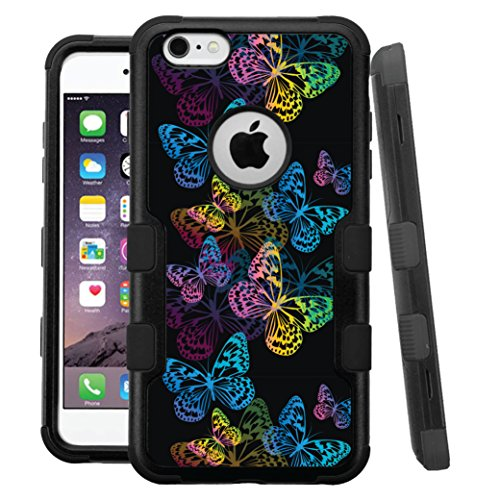 iPhone 6 Plus / 6s Plus Case, HJ Power[TM] For Apple iPhone 6 Plus / 6s Plus 5.5' (All Carrier) ~ NATURAL TUFF Hybrid Rubber Hard Snap-on Case Black Black-Mulitcolor Butterfly