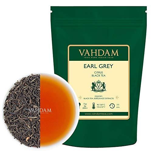 Earl Grey Tee (200+ Tassen), Blumig, Zitronig & Köstlich, (Lose Blätter) Tee, Schwarzer Tee gemischt mit Starken Bergamotte Extrakten aus Italien, 100% Reiner, Garten Frisch, Direkt aus Indien, 454g