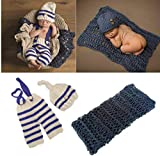 3 PCS Newborn Photography Prop Baby Hat Knitted Handmade Cover Diaper with Toddler Swaddle Blankets Wraps for Infant Boy Girl Princess Twins