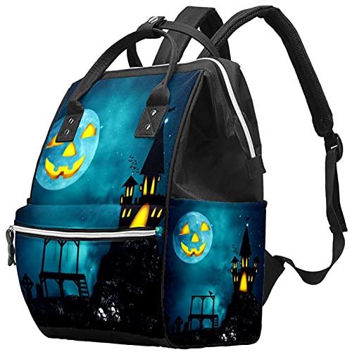 Yuelai Borsa per pannolini Zaino Zaino per laptop Zaino da viaggio per donna, Vacanze Halloween Skull Castle Moon Castle