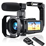 Video Camera 4K Camcorder, MELCAM Vlogging Camera 48MP 60FPS WIFI YouTube Camera with IPS Touch Screen, IR Night Vision, Time-Lapse, External Mic, Stabilizer, Hood, 2.4G Remote Control,Battery Charger