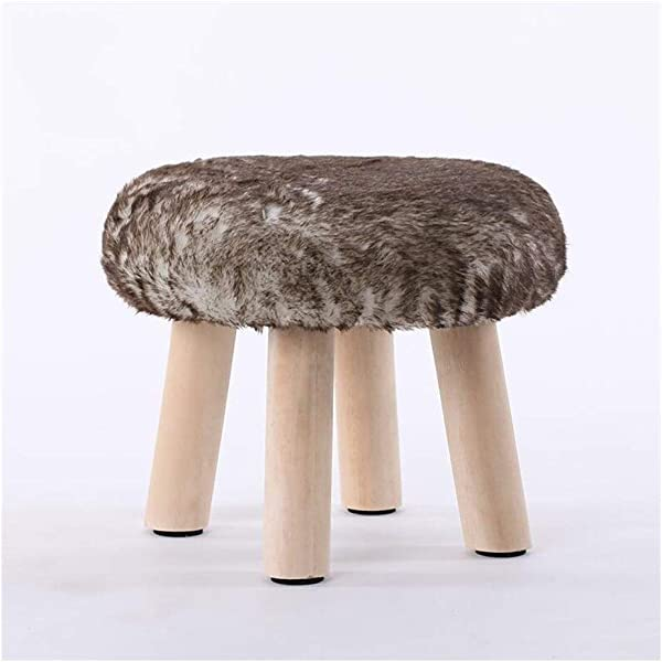 Carl Artbay Wooden Footstool Brown 4legged Stool Wood Small Bench Creative Stool Removable And Washable Stool Home