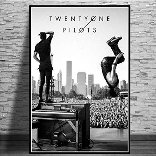 tgbhujk Twenty One Pilots Music Band Kunst Poster Leinwand Gemälde Wandbild Home Decor Poster und Drucke 50 * 75cm Ohne Rahmen