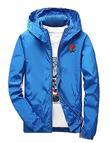 Rexcyril Men's Rose Floral Windbreaker Hooded Jacket Lightweight Solid Color Casual Full Zip Flower Coat Medium Blue
