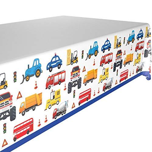 Bouw Trucks Engineering Cars Party Wegwerp servies Set Plate Straw Verjaardag Party Decoraties Kids Cake Decor, Tafelkleed x1pc