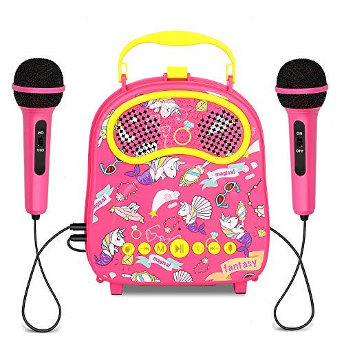 HowQeen Kinder Karaoke Koffermit 2 Mikrofonen, einschließlich Sprachwechsler, Applaus und Begleitung sowie Original-Sänger, Karaoke Maschine für Kinder Audio-Anschluss für Smartphones (pink)