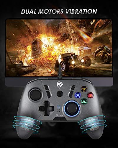 EasySMX Gaming Controllers, Wired Joysticks, kabelgebundenes Gamepad einstellbare LED mit Vibrationsfeedback, Turbo, Vier programmierbare Tasten für PC, andriod TV, TV Box, Tablets