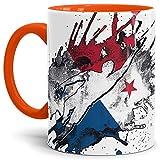 Tassendruck Flaggen-Tasse Fussballer -Panama - Fahne/Länderfarbe/WM 2018/Weltmeisterschaft/Cup/Tor/Innen & Henkel Orange - Qualität Made in Germany