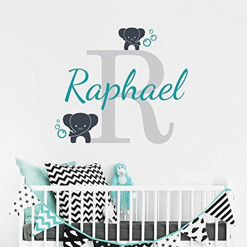 stickers muraux disney chateau Nom personnalisé éléphant papillon pour filles garçons enfants chambre bébé (33cm Hauteur)