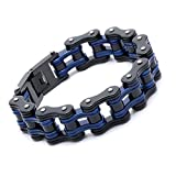 Mens Bicycle Bracelet Biker Link Chain Stainless Steel Wristband Motorcycle Bangle 8.5 inch (blue-black)