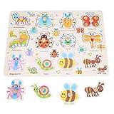 Garosa Rompecabezas de Madera y Juego de estantes 30 * 22.5cm Juego de Tablero de Agarre Juego Educativo Preescolar Peg Puzzle para niños pequeños de 3 Meses o más(Insecto)