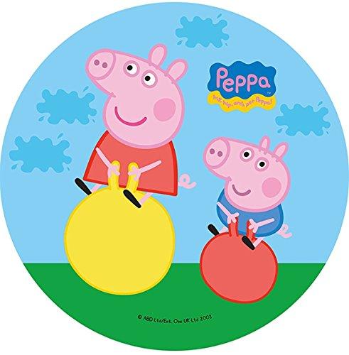 Dolce idea CIALDA in ostia PEPPA PIG personalizzabile forma rotonda diam. 20 cm, decorazione per torta