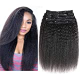 YAMI Kinky Straight Clip ins Human Hair Extensions Afro 3c 4b Kinky Straight Clip in Hair Extension for Women Natural Black 10 Pcs 120 Gram 10 12 14 16 18 20 Inch (16, Kinky Straight)
