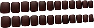Perfeclan 24Pcs Matte Fake Short Nails, Coffee Brown Square Nails, Full Cover False Gel Nails Art Tips Set for Wedding, Party, Christmas And Daily Wearing