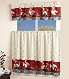 Sapphire Home 3 Piece Kitchen Curtain Linen Set with 2 Tiers 27' W (Total Width 54') x 36' L and 1 Tailored Valance 54' W x 15' L, Kitchen Curtain Décor Linen, Chef Design
