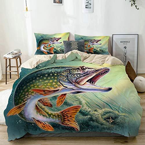 KOSALAER Bettwäsche Set,Angeln Bass Fisch Ozean,3 Teilig Bettbezüge Mikrofaser Bettbezug 135 x 200cm mit Reißverschluss und 1 Kissenbezug