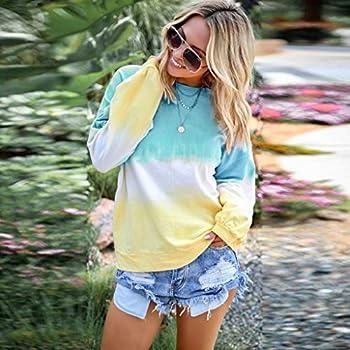 Dasongff Sweat-shirt à manches longues pour femme Motif dégradé de couleurs xxl bleu clair