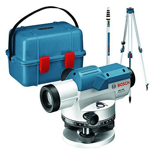 Bosch Professional Optisches Nivelliergerät GOL 20 D (20-fache Vergrößerung, Maßeinheit: 360 Grad, Arbeitsbereich: bis zu 60 m, Messlatte GR 500, Baustativ BT 160, im Transportkoffer)