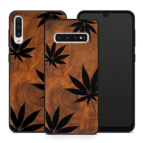 Handyhülle Weed für Samsung Silikon Hülle PSY Gras Cannabis Canabis Hanf Bang Holzhülle Om Marihuana, Hüllendesign:Design 1 | Silikon Schwarz, Kompatibel mit Handy:Samsung Galaxy A7 (2018)