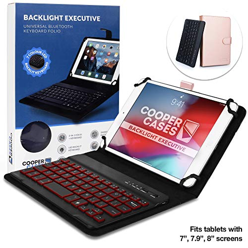 Cooper Backlight Executive Keyboard Case for 7-8 Inch Tablets | 2-in-1 Bluetooth Wireless Backlit Keyboard, Leather Folio, 7 Color Keys (Rose Gold)