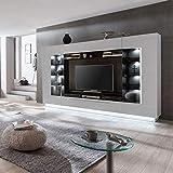 Froschkönig24 Dundee 2 Wohnwand Anbauwand Wohnzimmer 1-teilig Hochglanz Weiß, LED-Beleuchtung:mit LED-Beleuchtung