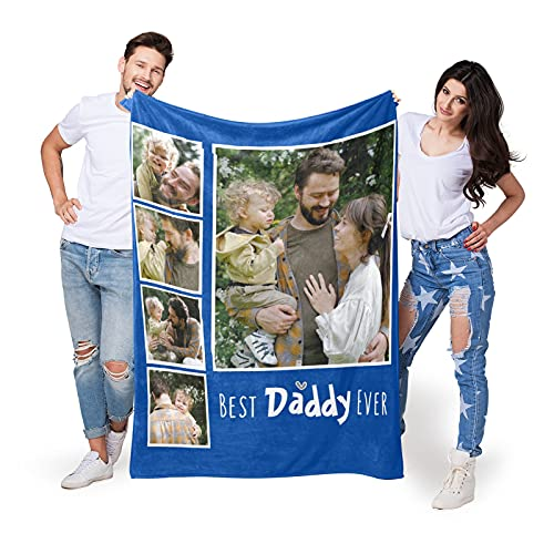 Best Daddy Ever Custom Blanket with 5 Photos Gifts for Dad, Dad Blanket Gift Personalized Blanket with Picture, Customized Blanket Gift for Family and Friend on Father's Day, Christmas|10 Colours