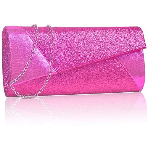 Larcenciel Damen Clutch unregelmäßige Form Unterarmtasche Umhängetasche mit Strass-Steinen und abnehmbarer Kette in den Farben(Rose)