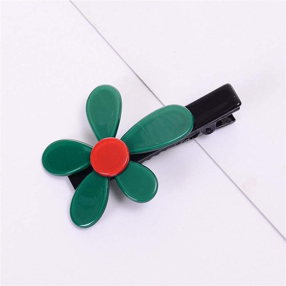 同盟アスペクト入場HuaQingPiJu-JP 1Pcシンプルなエレガントなフラワーヘアクリップファッションアクセサリー(グリーン)