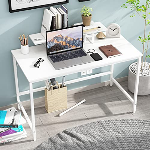 HOMEYFINE Computer Desk,Laptop Table with Storage for Controller,Wood and Metal,Study Table for Home Office,120 x 60 x 73 cm (White Finish)