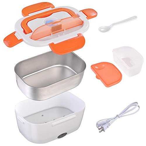 Yescom 1.5L Portable Electric Lunch Box Car Food Warmer Heater Spoon and 2 Container Orange