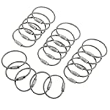 bayite BYT-WKC-051 4 Inches Stainless Steel Wire Keychains 2mm Cable Key Rings Luggage Loops Tag Keepers Heavy Duty Pack of 20